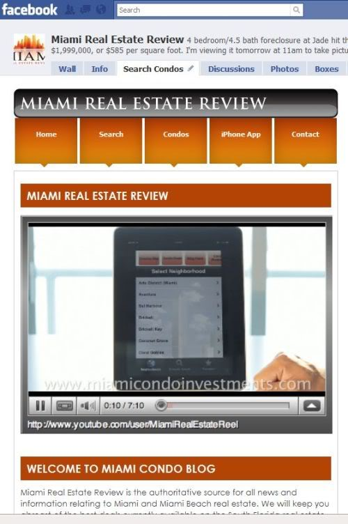 Miami Real Estate Review FaceBook fan page