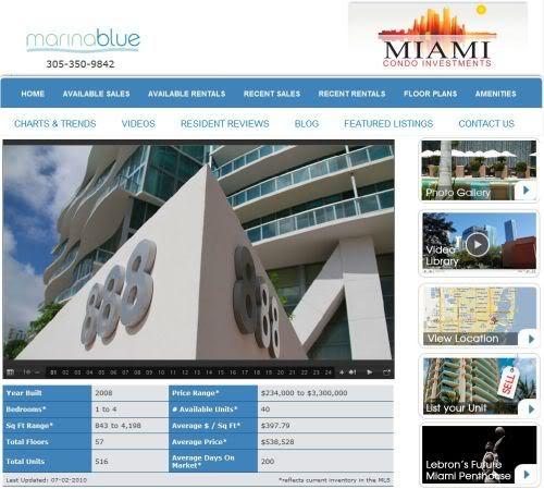 Marina Blue Miami Condos website