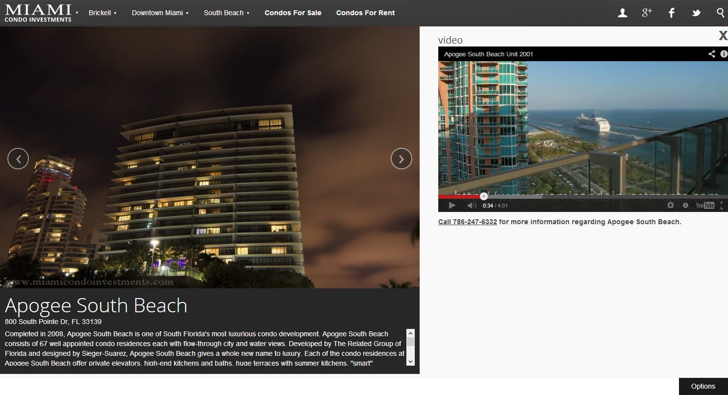 Apogee South Beach building profile page