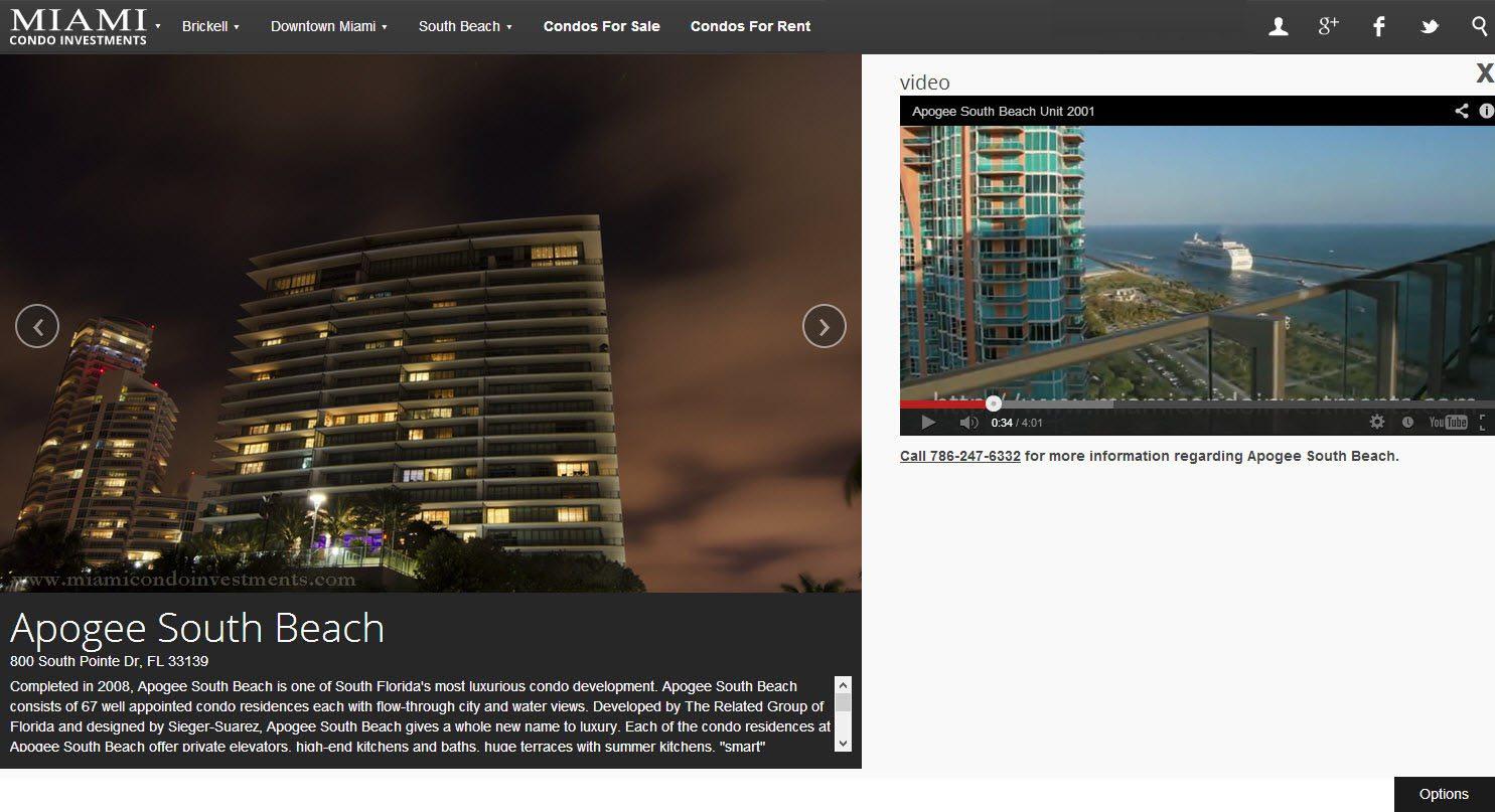 Apogee South Beach building profile page