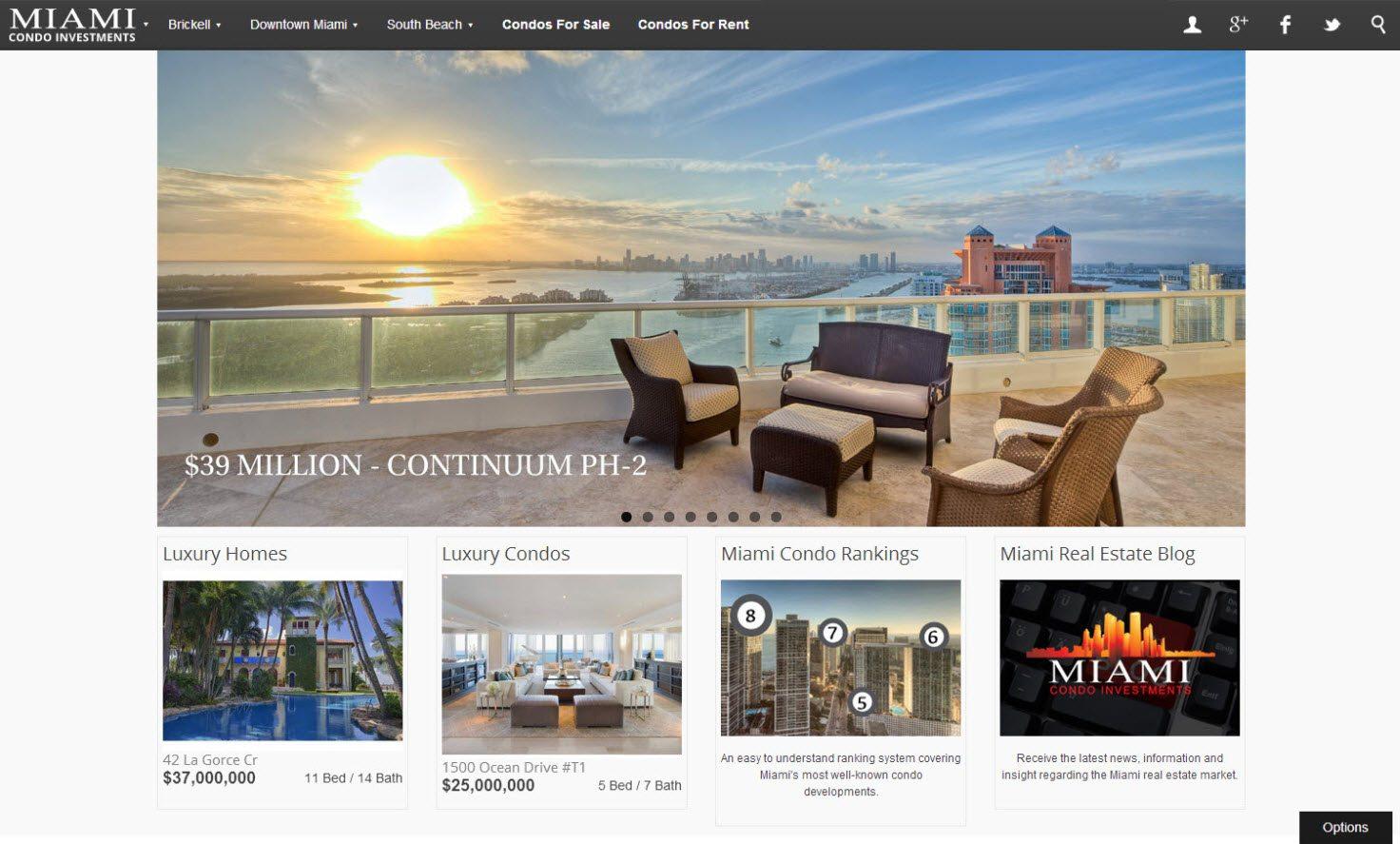 Miami Condo Investments new homepage