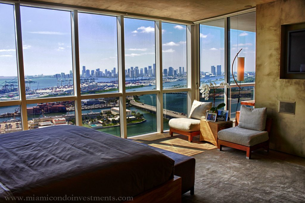 view of Downtown Miami and Biscayne Bay from master bedroom