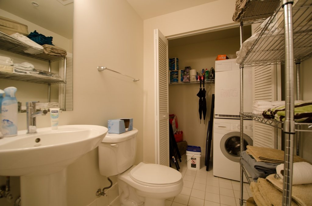 half bath with laundry closet