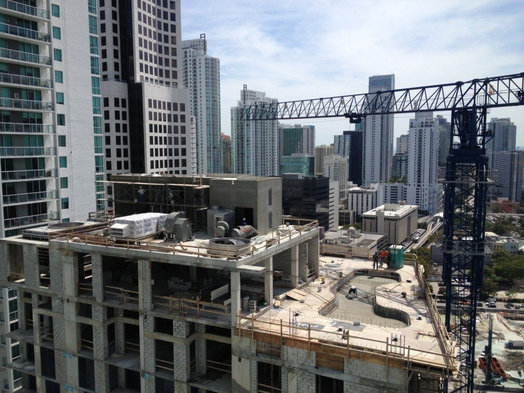myBrickell rooftop pool construction shot