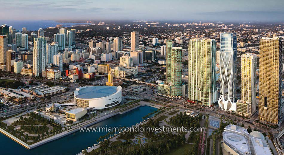 Miami skyline shot with One Thousand Museum