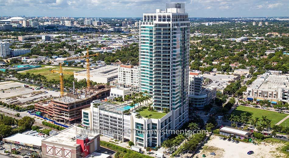 aerial of 4 Midtown condos