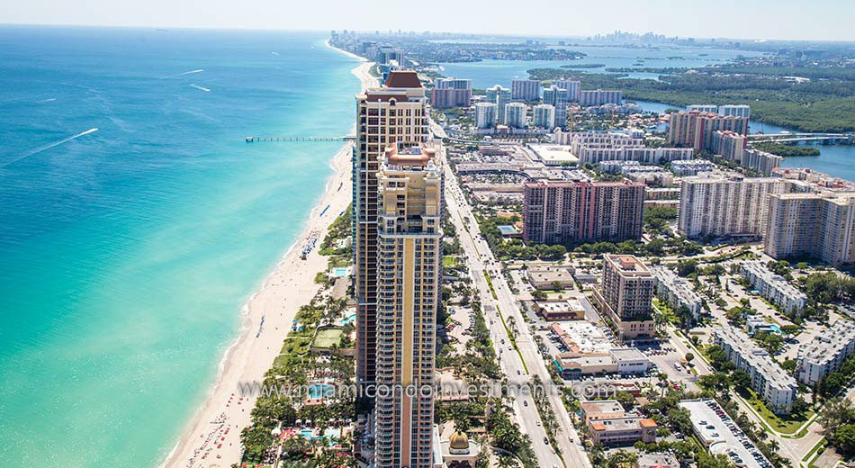 aerial view of Acqualina condos in Sunny Isles Beach