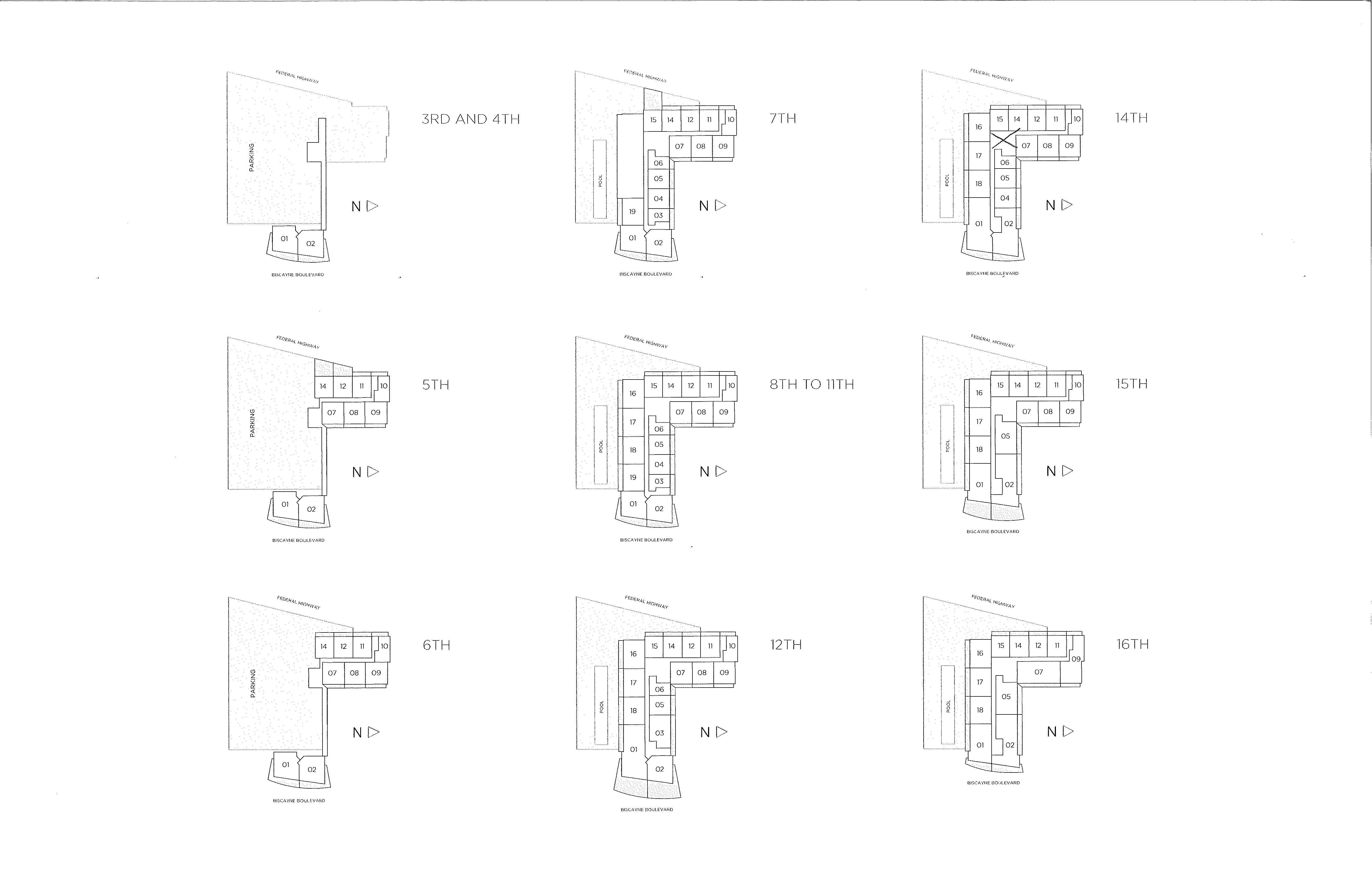 Baltus House Site Plan Floors 7 to 14
