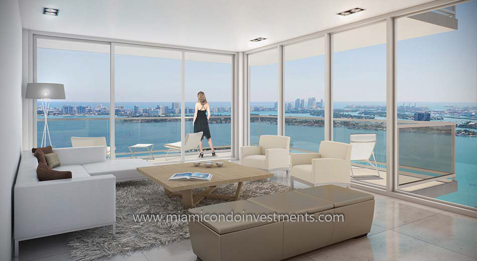 views from Bay House Miami condos