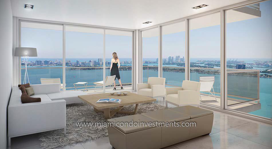 views from Bay House Miami condos