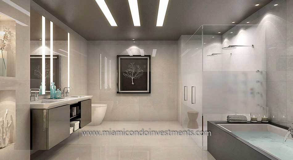 Lower Penthouse Master Bathroom at Echo Brickell