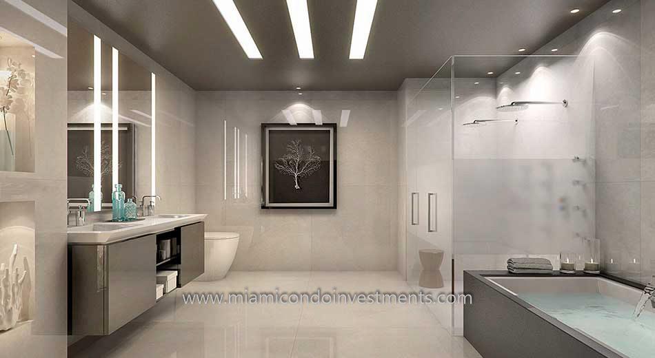 Lower Penthouse Master Bathroom at Echo Brickell