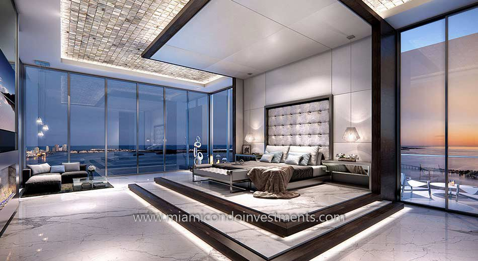 Master bedroom of a penthouse condo at Echo Brickell