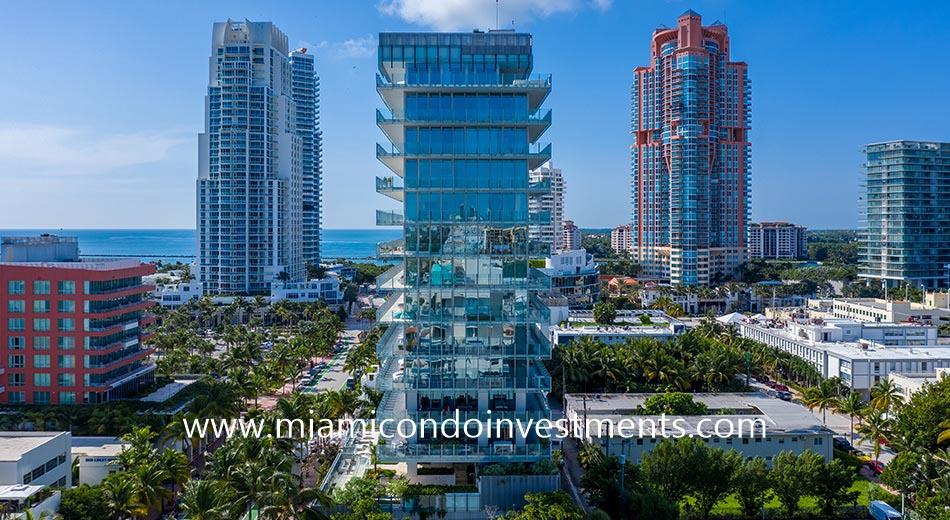 Glass condominium in South Beach
