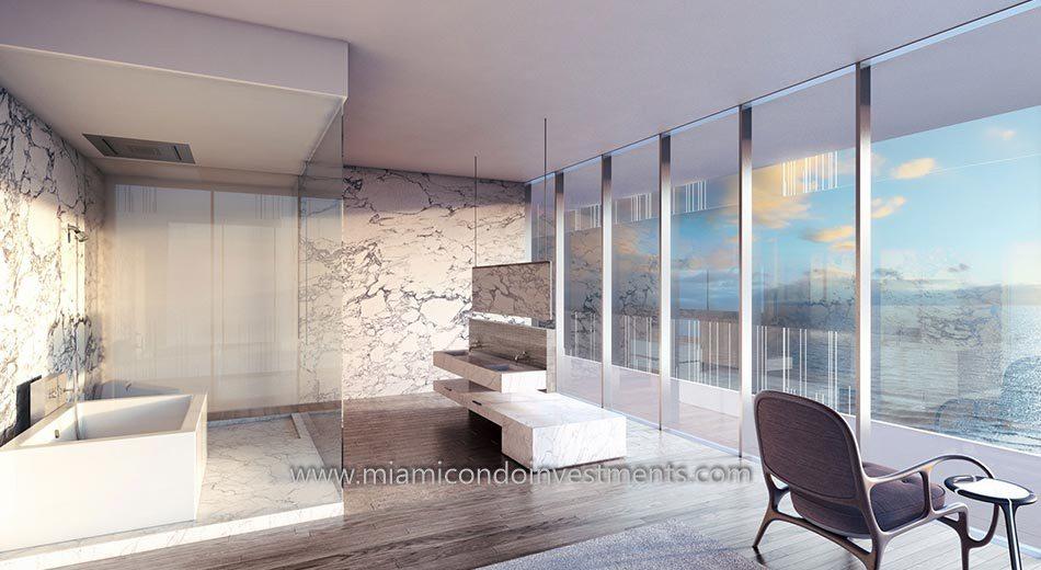 Glass miami beach condos bathroom