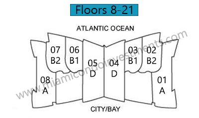 Jade Beach site plan floors 8 to 21