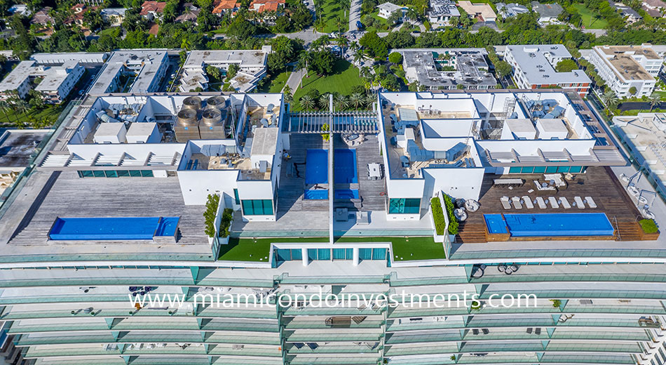 aerial view of the north and south penthouses at Oceana Bal Harbour