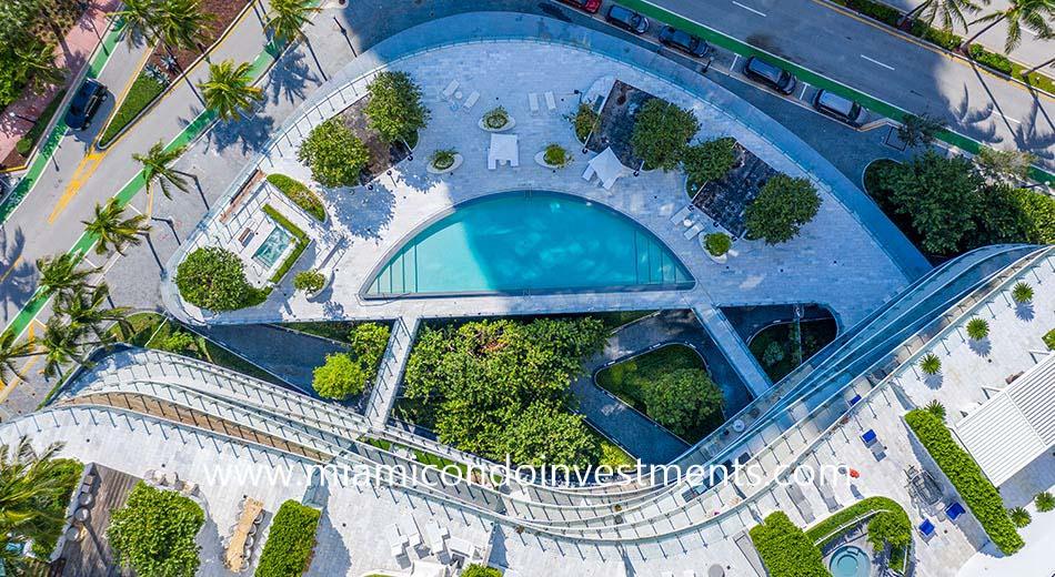 aerial view of the One Ocean pool deck