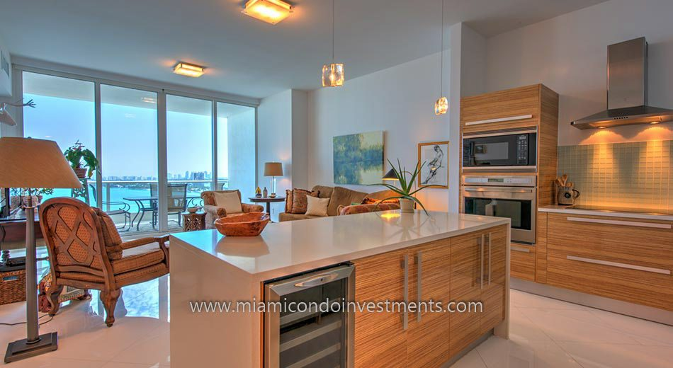 condos miami kitchen and view