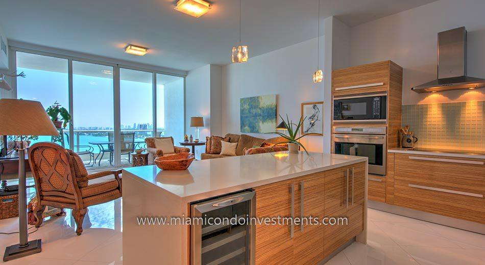 condos miami kitchen and view