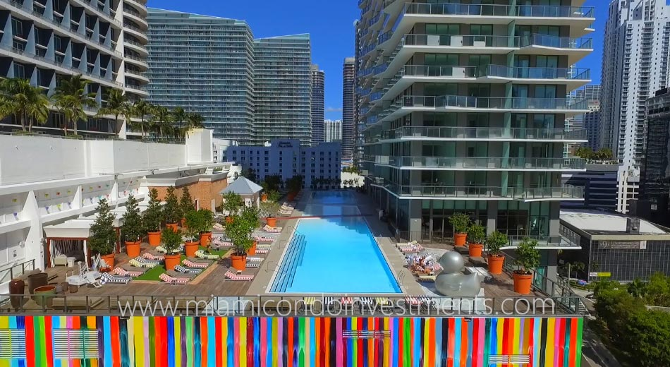 SLS Brickell condos pool deck