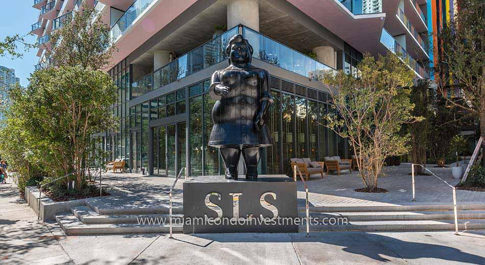SLS Brickell condos Botero statue