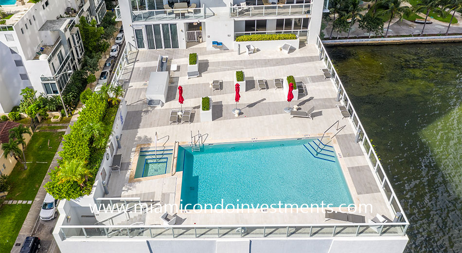 aerial view of pool deck at The Crimson