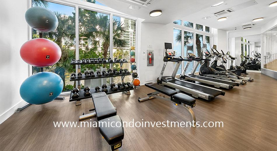 fitness center at The Crimson condominium