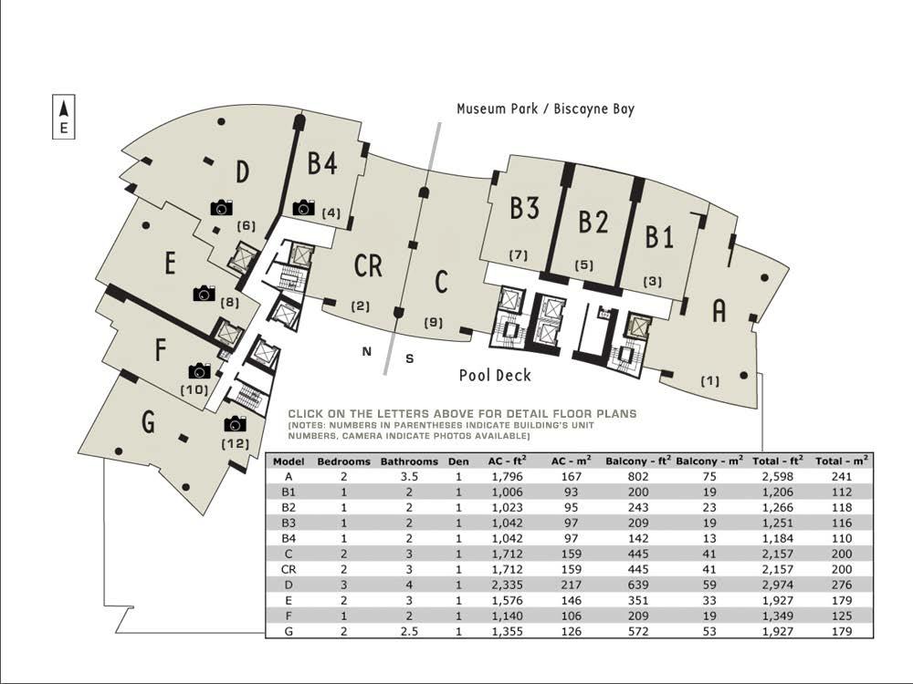 900 Biscayne Bay Tower Units Key Plan