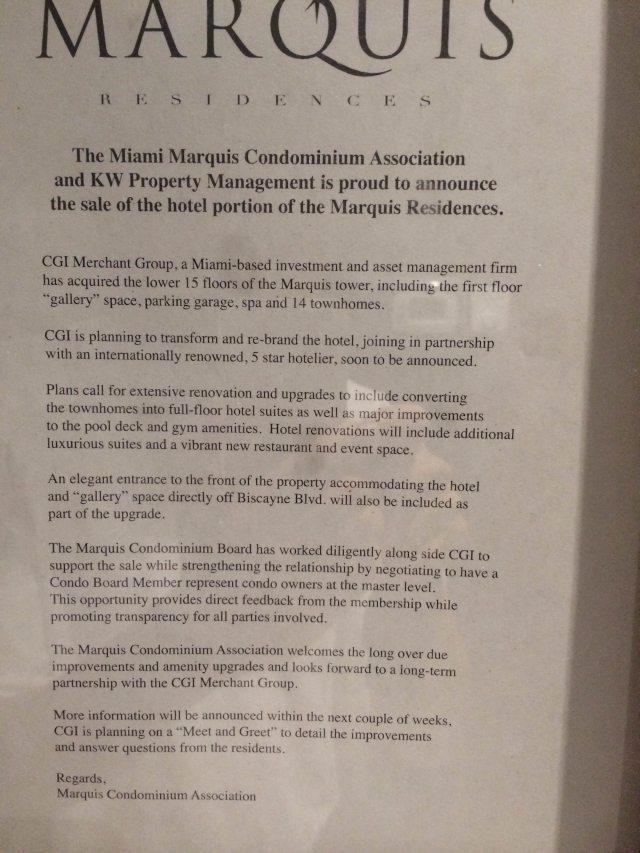 Marquis hotel acquisition announcement letter