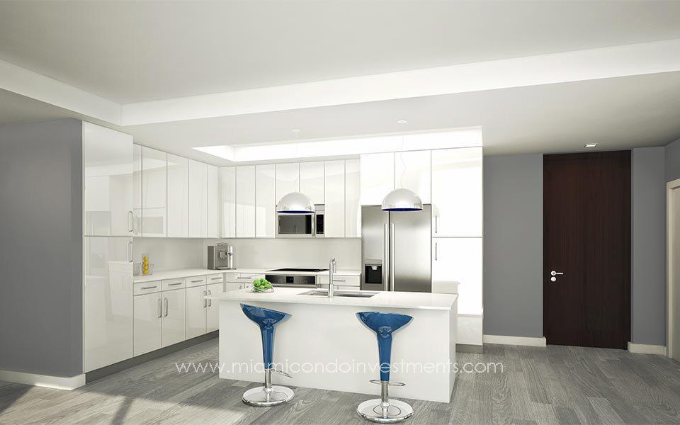 Nine at Mary Brickell Village kitchen rendering