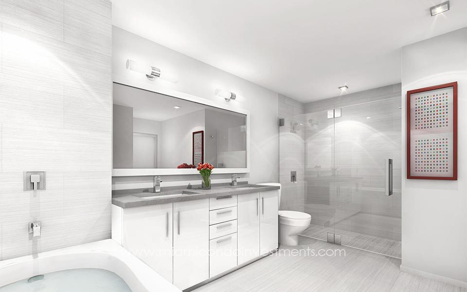 Nine at Mary Brickell Village bathroom rendering
