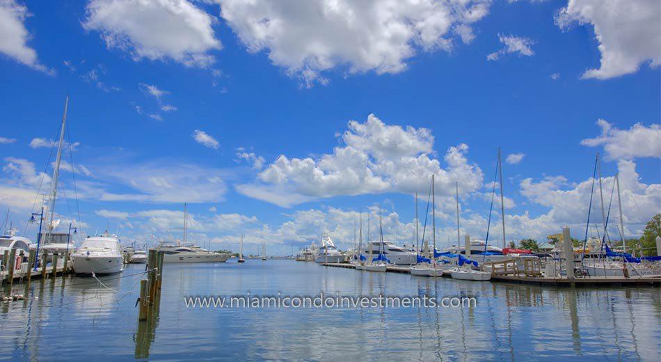 boats dock at the Dinner Key Marina in Coconut Grove