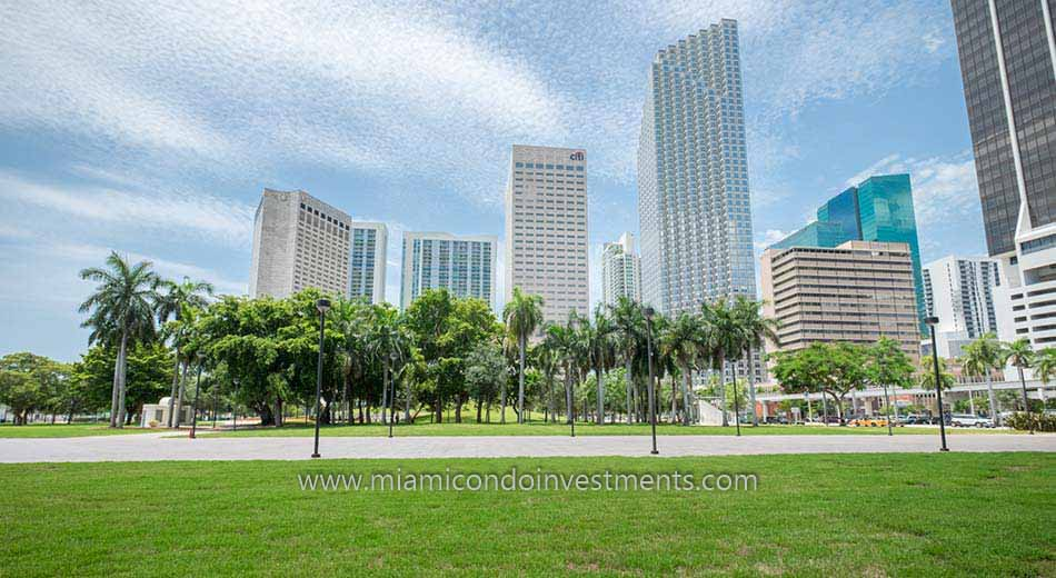 Downtown Miami condos from Bayfront Park