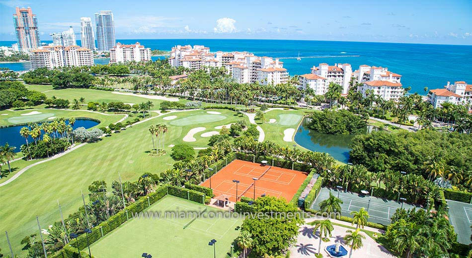 Aerial view of Fisher Island condos in Florida