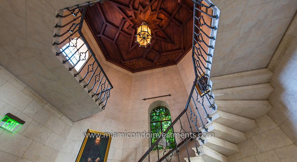 Stairway to the Snooker Club inside the Vanderbilt Mansion on Fisher Island