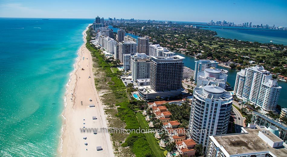 Aerial view of Miami Beach condos