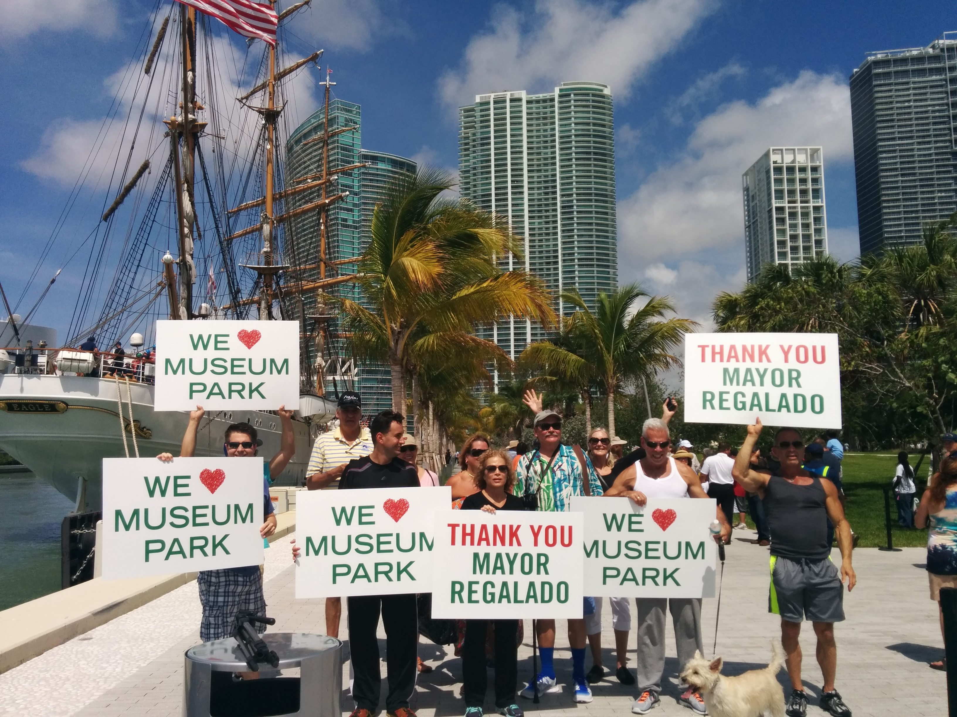 Miami residents showing support and appreciation at Museum Park opening ceremony
