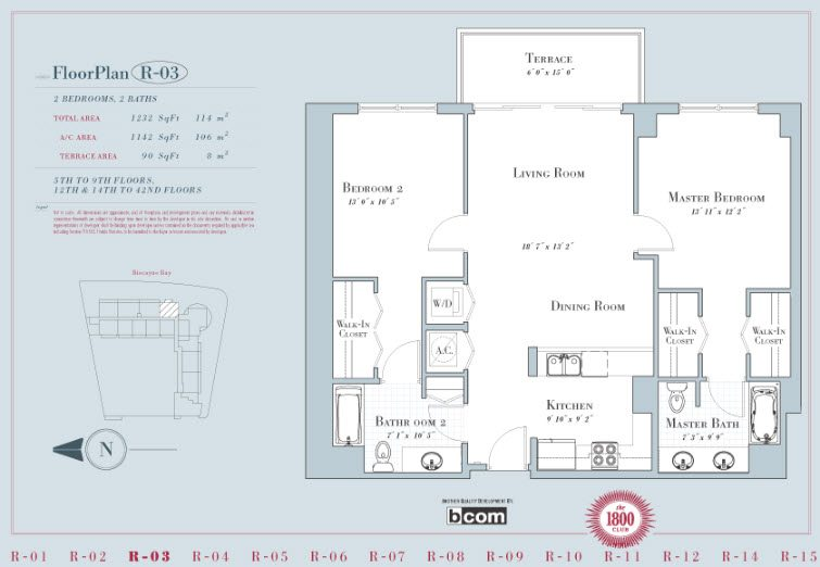 1800 Club unit 4003 floor plan