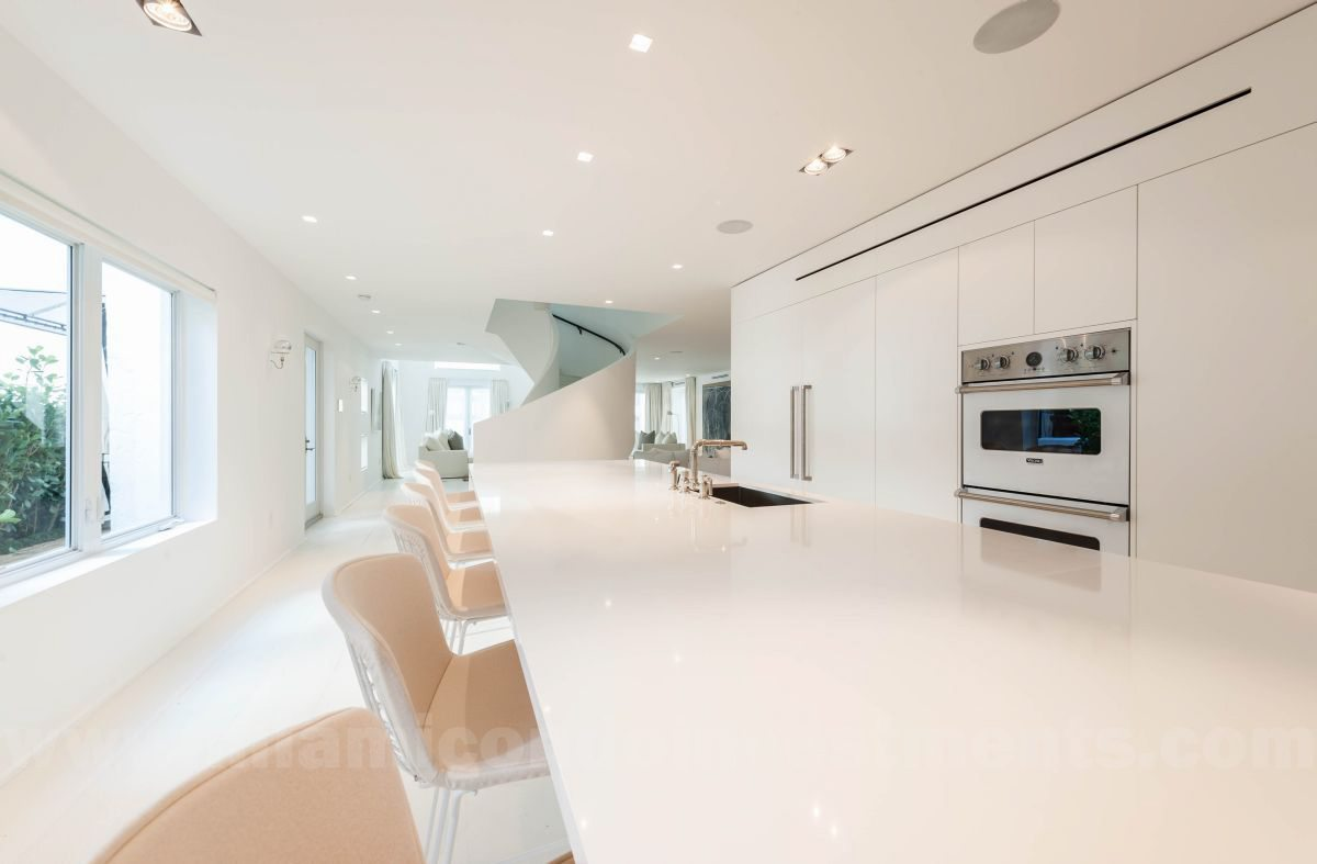 custom kitchen with appliances by Sub-Zero, Miele, and Viking