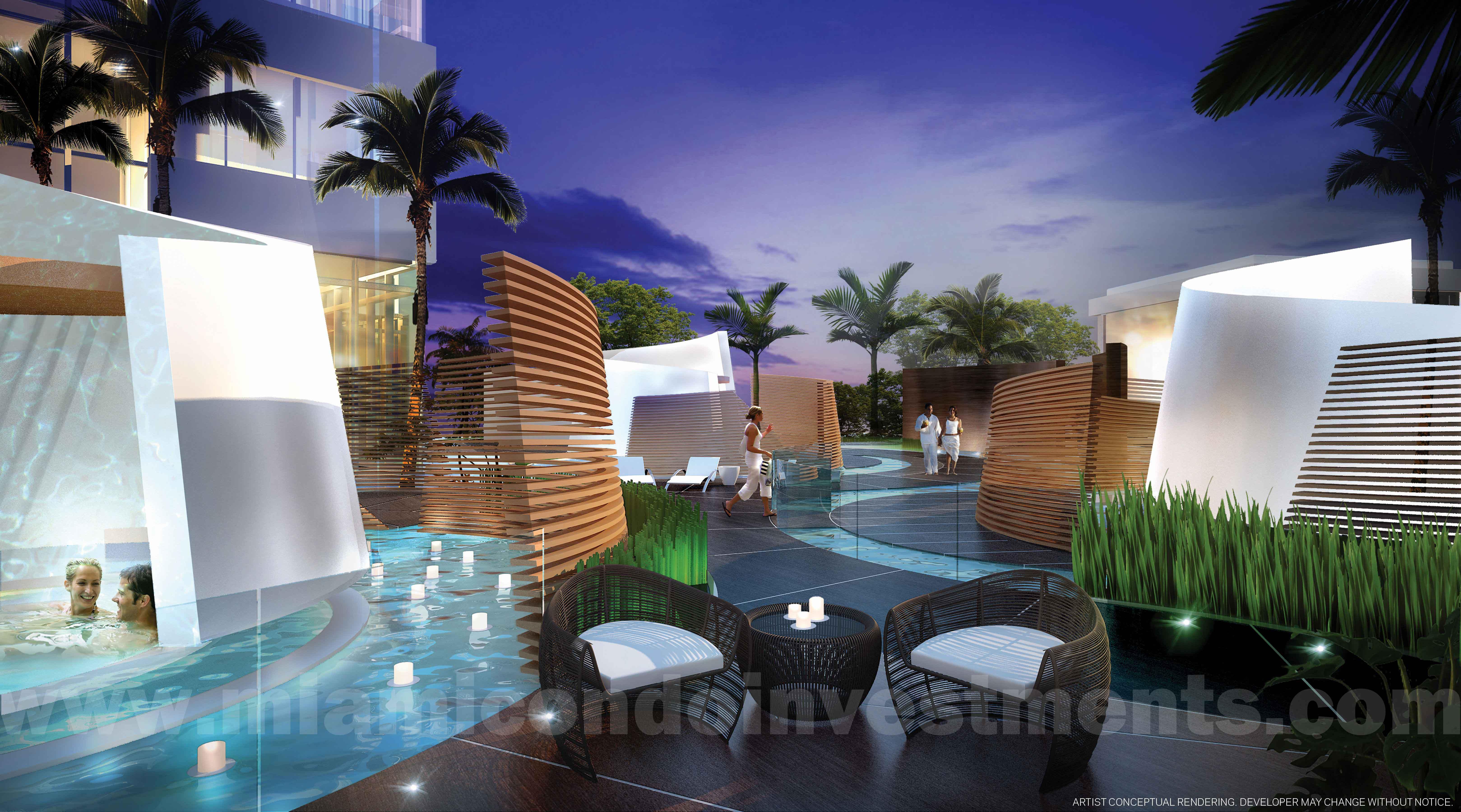 outdoor bath gardens at Paramount Miami Worldcenter