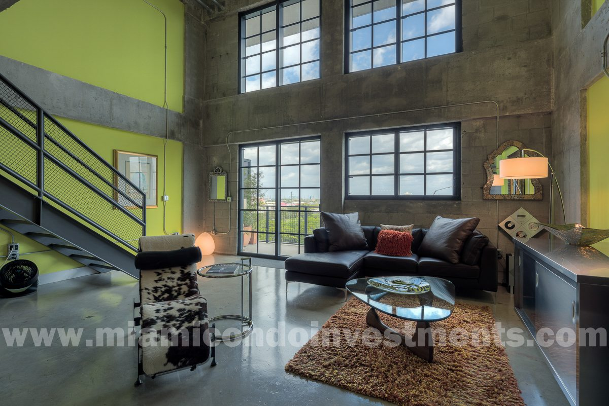 industrial loft at Parc Lofts with 20-foot ceilings