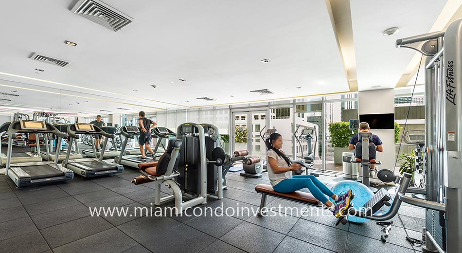 fitness center at 500 Brickell West