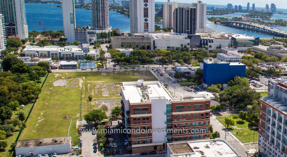 aerial photo of A+E District Miami neighborhood