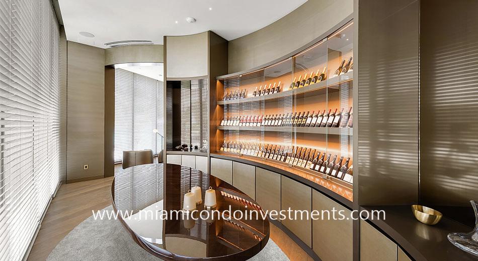 wine cellar at Armani Casa Sunny Isles