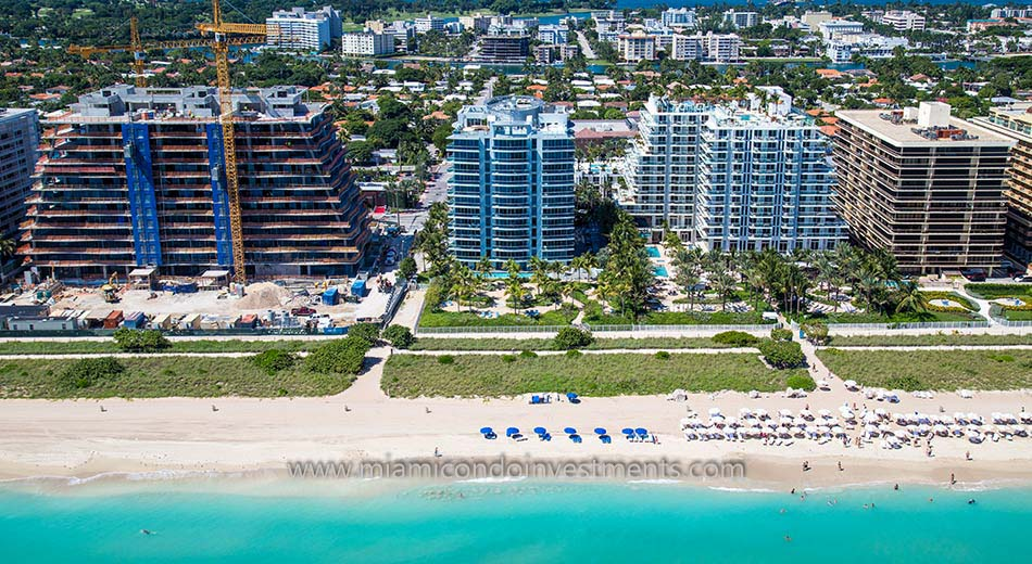 aerial photo of Azure condos in Surfside Florida