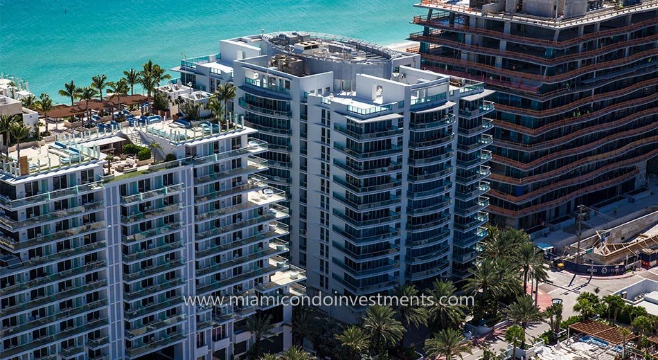 exterior of Azure condos in Surfside