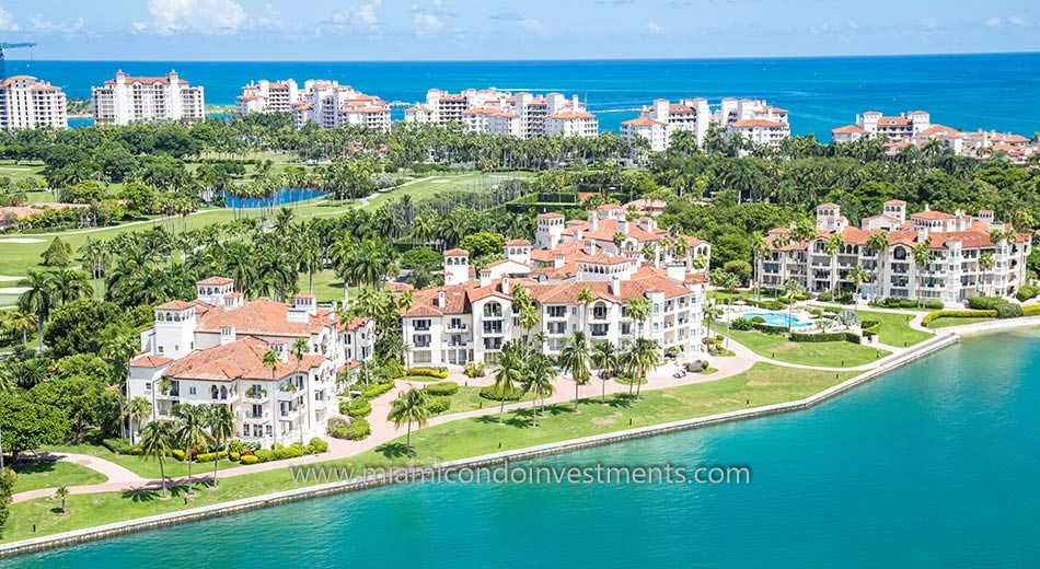 aerial of Bayside Village condos on Fisher Island