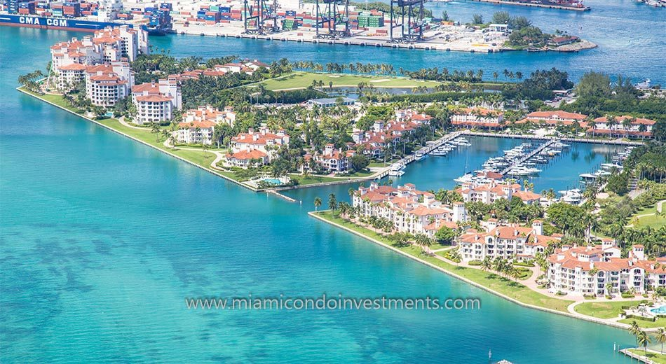 aerial photo of Bayside Village condos on Fisher Island