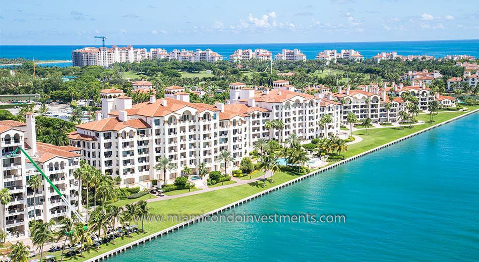 aerial photo of Bayview condos on Fisher Island
